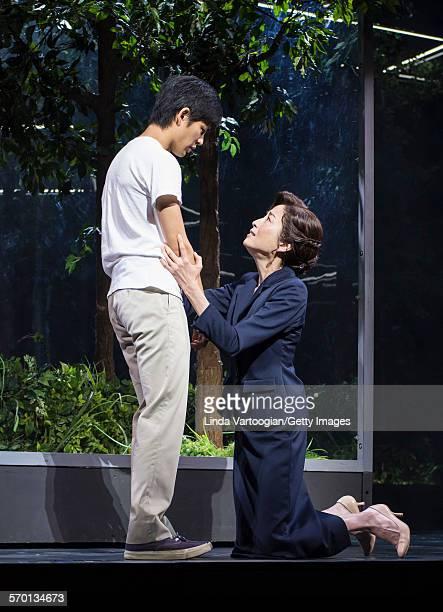 Japanese actors Nino Furuhata and Rie Miyazawa as perform at a photo call for the Ninagawa Company production of 'Kafka on the Shore' as part of...