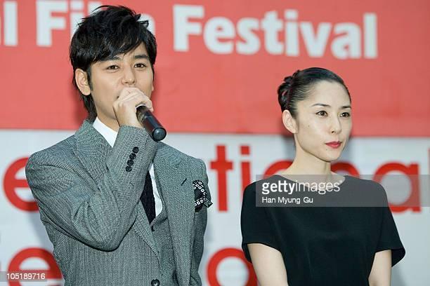 Japanese actors Satoshi Tsumabuki and Fukatsu Eri attends a audience meet and greet at the NampoDong Outdoor Stage during the 15th Pusan...