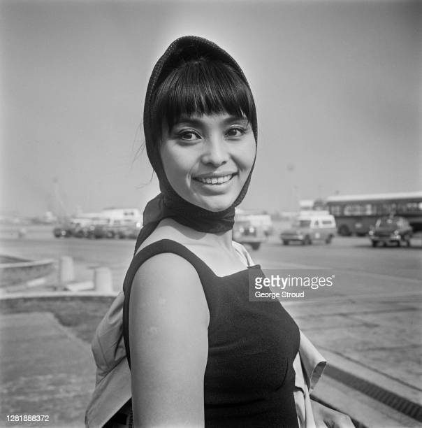 Japanese actress Akiko Wakabayashi arrives at London Airport UK 20th September 1966 She is set to star in the James Bond film 'You Only Live Twice'
