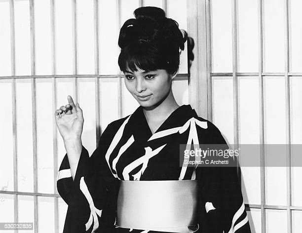 Japanese actress Akiko Wakabayashi wearing a kimono in a scene from the James Bond film 'You Only Live Twice' circa 1967
