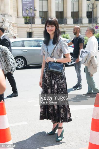 Japanese Actress and model Nana Komatsu wears all Chanel day 3 of Paris Haute Couture Fashion Week Autumn/Winter 2017 on July 4 2017 in Paris France