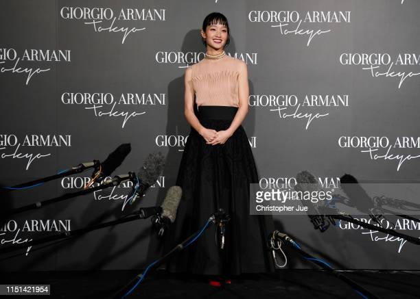 Japanese actress Ayame Goriki is interviewed by the media at the Giorgio Armani 2020 Cruise Collection on May 24 2019 in Tokyo Japan