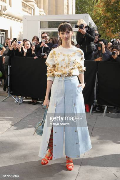 Japanese actress Ayami Nakajo attends the Chanel show as part of the Paris Fashion Week Womenswear Spring/Summer 2018 on October 3 2017 in Paris...