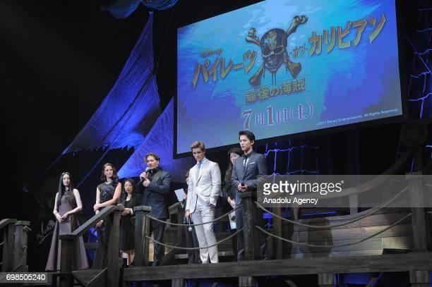 Japanese actress Chiaki Kuriyama actress Kaya Scodelario Actors Johnny Depp Brenton Thwaites and Taishi Nakagawa attend the Japan Premiere of Pirates...
