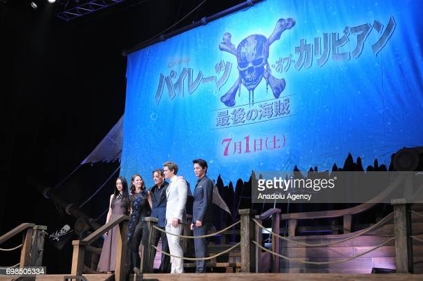 Japanese actress Chiaki Kuriyama actress Kaya Scodelario Actors Johnny Depp Brenton Thwaites and Taishi Nakagawa attend the Japan Premiere of Pirates...