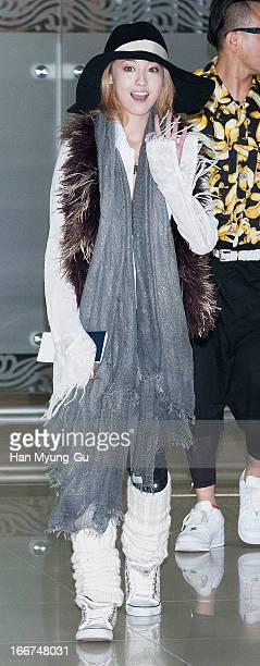 Japanese actress Erika Sawajiri is seen upon arrival from Japan at Gimpo International Airport on April 16 2013 in Seoul South Korea