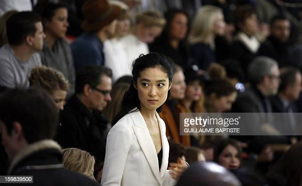 Japanese actress Eriko Hatsune arrives to attend the Christian Dior Haute Couture SpringSummer 2013 collection show by Belgian designer Raf Simons on...