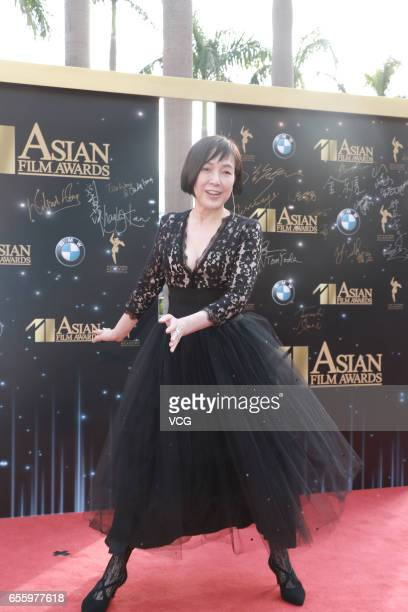 Japanese actress Kaori Momoi arrives at the red carpet of the 11th Asian Film Awards at Hong Kong Cultural Centre on March 21 2017 in Hong Kong China