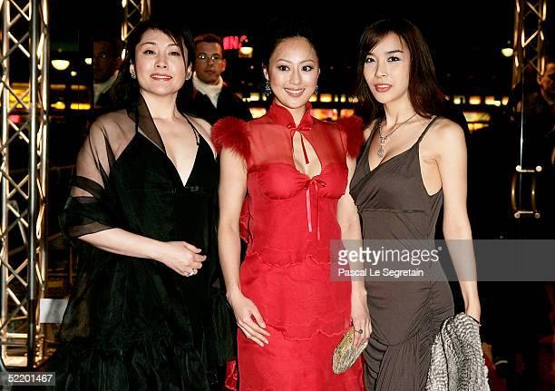 Japanese actress Matsuzaka Keiko Chinese actress Teresa Cheung and Korean actress Harisu arrive for the Tao Se Premiere at the Zoo Palast Theatre...