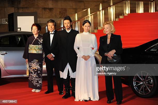 Japanese actress Miki Nakatani poses as she attends the red carpet ceremony during the 28th Tokyo International Film Festival in Tokyo Japan on...
