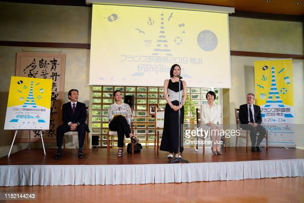 Japanese actress Miki Nakatani speaks during a press conference for the French Film Festival Yokohama 2019 at the French Embassy on May 28 2019 in...