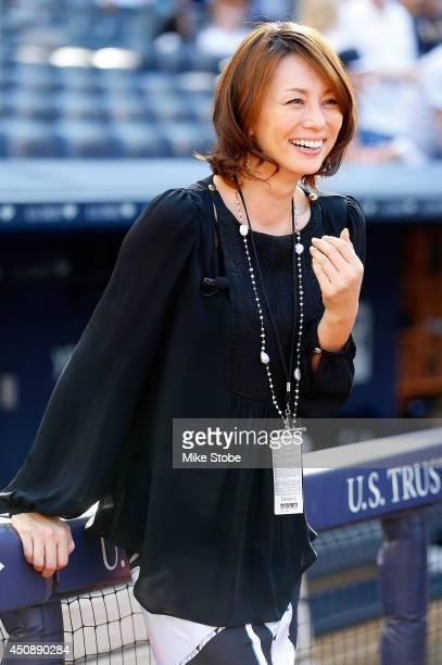 Japanese Actress Ryoko Yonekura looks on during warm-ups prior to the gama against the Toronto Blue Jays at Yankee Stadium on June 19, 2014 in the...