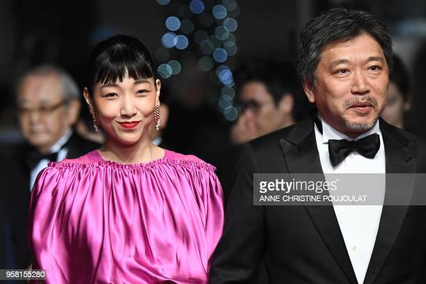 Japanese actress Sakura Ando and Japanese director Hirokazu KoreEda arrive on May 13 2018 for the screening of the film Shoplifters at the 71st...