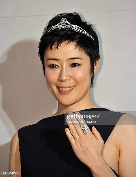 Japanese actress Shinobu Terajima attends the reopening of Chaumet's flagship shop in Japan at Tokyo's Ginza fashion district on March 21 2012...