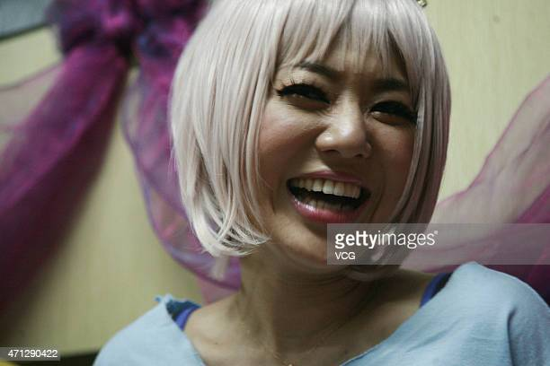 Japanese actress Sora Aoi attends activity at Langkawi Bar on April 26 2015 in Yangzhou Jiangsu province of China