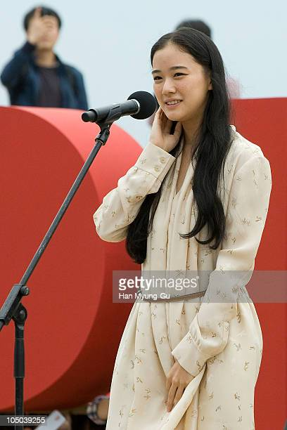 Japanese actress Yu Aoi attends an audience meet and greet during day two of the Pusan International Film Festival at PIFF Village Outdoor Stage on...