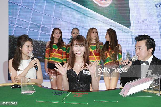 Japanese actress Yui Hatano attends the Global Gaming Asia on May 18 2016 in Macau China