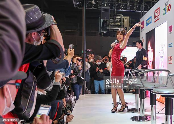 Japanese adult video actress greets visitors during the Japan Adult Expo at the Toyosu PIT on November 17 2015 in Tokyo Japan At the Japan Adult Expo...
