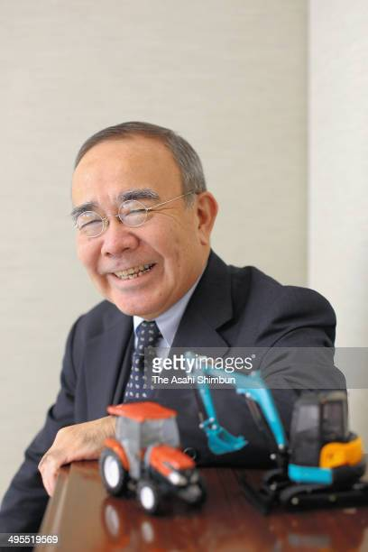 Japanese agriculture tractor and heavy equipment manufacturer Kubota Chairman and President Yasuo Masumoto speaks during the Asahi Shimbun interview...