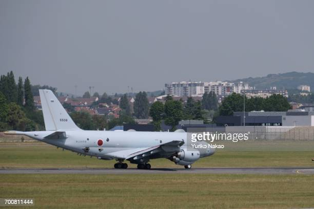 Japanese aircraft maker Kawasaki Heavy Industries' P1 maritime patrol aircraft prepares to depart the Le Bourget Airport during the 52nd...