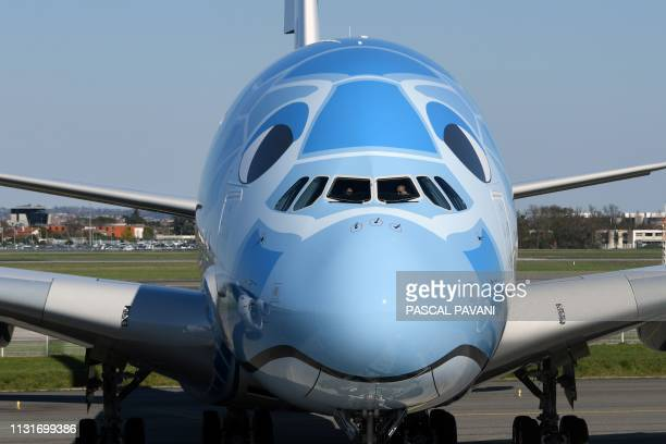 A Japanese airline All Nippon Airways ANA Airbus A380 is seen parked on the tarmac during a ceremony for the delivery of the company's first Airbus...