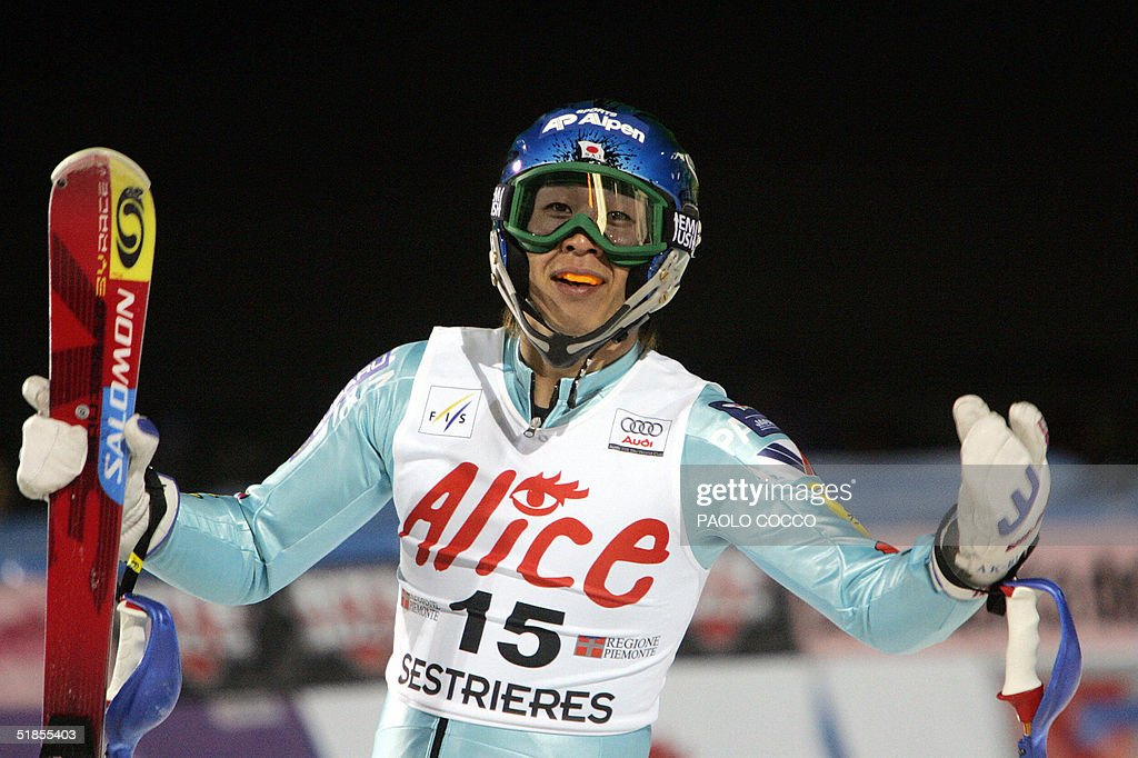 Japanese Akira Sasaki reacts in the finish area after taking the fifth place in the World Cup men's slalom competition in Sestriere 13 December 2004. US Bode Miller won the competition while Switzerland's Silvan Zurbriggen was second and Finnish Kalle Palander third. AFP PHOTO/Paolo COCCO