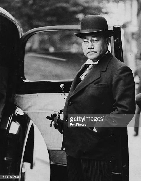 Japanese Ambassador Shigeru Yoshida getting into his car outside the Foreign Office in London August 27th 1937