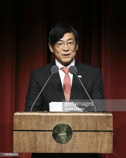 Japanese Ambassador to Ankara Akio Miyajima speaks during gratifying ceremony of Grand Cordon of the Order of Rising Sun which was given by Japanese...