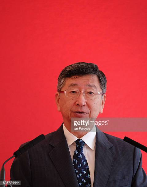 Japanese Ambassador to the UK, Koji Tsuruoka, speaks to guests at the Hitachi Rail Europe site on December 9, 2016 in Newton Aycliffe, United...