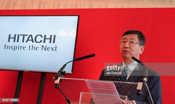 Japanese Ambassador to the UK, Koji Tsuruoka, speaks to guests during a visit to the Hitachi Rail Europe site on December 9, 2016 in Newton Aycliffe,...