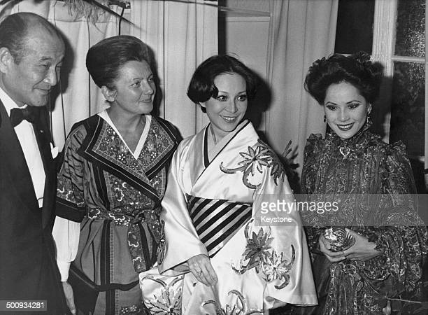 Japanese Ambassador to Vietnam and France Hideo Kitahara attends a revue at the Folies Bergere of FolieJe T'Adore France 21st September 1977 LR Hideo...