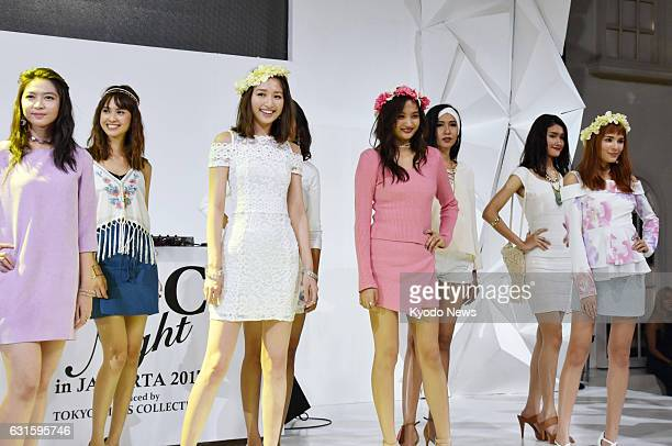 Japanese and Indonesian models take part in Tokyo Girls Collection in Jakarta on Jan 12 the first time such a Japanese fashion show has taken place...
