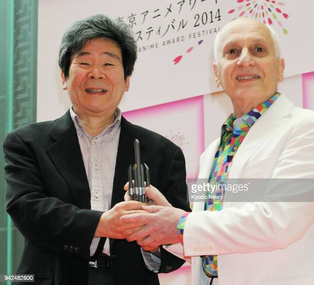 Japanese animated film director and Studio Ghibli co-founder Isao Takahata , seen in this file photo taken in March 2014 at the Tokyo Anime Award...