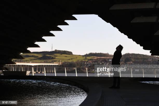 Japanese architect Kengo Kuma who designed VA museum visits the building on February 9 2018 in Dundee Scotland The internationally renowned architect...