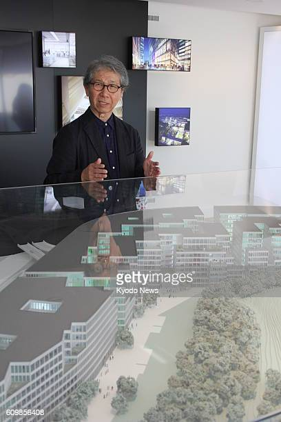 Japanese architect Riken Yamamoto explains to journalists his work 'The Circle' a largescale complex which is under construction at Zurich Airport in...