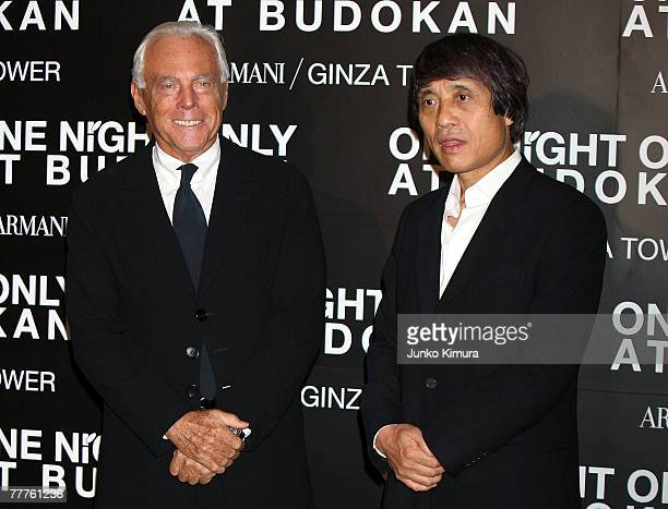 Japanese architect Tadao Ando and Giorgio Armani attend the Giorgio Armani's One Night Only at Nihon Budokan on November 7 2007 in Tokyo Japan...
