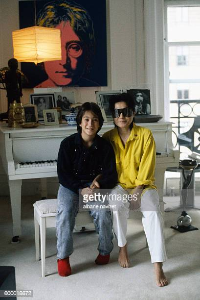 Japanese artist and activist Yoko Ono with her son Sean Lennon in New York