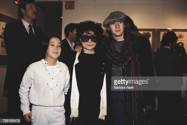 Japanese artist and musician Yoko Ono with her son Sean Lennon and stepson Julian Lennon March 1988