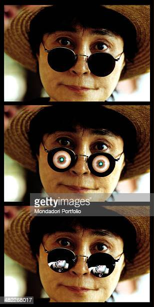 Japanese artist and peace activist Yoko Ono wearing a straw hat in a threeshots sequence representing the same closeup of her whose sunglasses are...