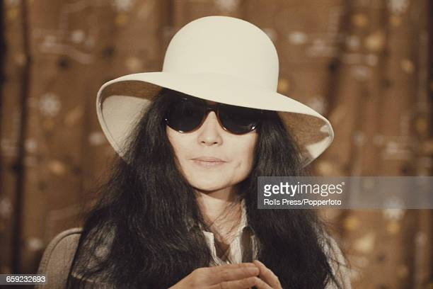Japanese artist and wife of John Lennon Yoko Ono posed at a press conference at Heathrow airport in London on 1st April 1969