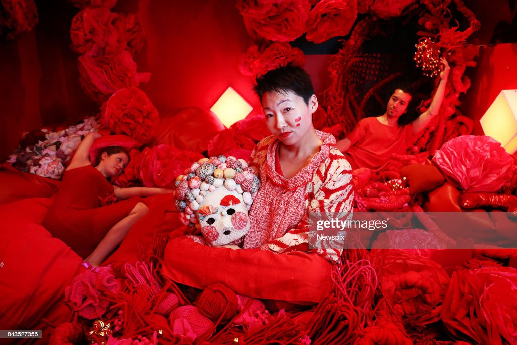 SYDNEY, NSW - (EUROPE AND AUSTRALASIA OUT) Japanese artist Hiromi Tango with dancers, Madeleine Towler Lovell and Paul Walker pose during a media call at the Carriageworks in Sydney, New South Wales. Hiromi Tango has installed a 'Red Room' at the Sydney Contemporary Art Fair.