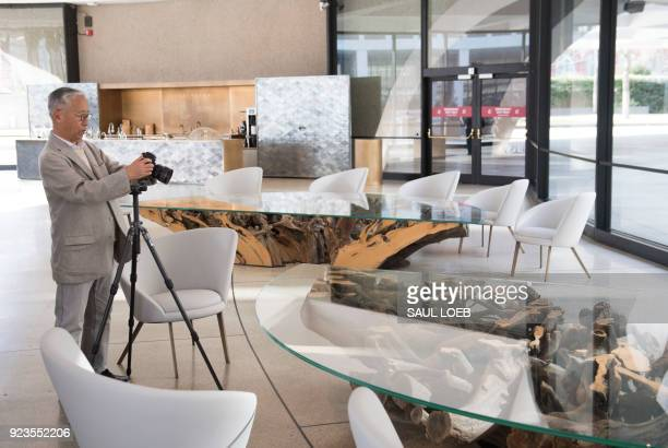 Japanese artist Hiroshi Sugimoto photographs about his redesign of the Smithsonian's Hirshhorn Museum lobby and cafe at the Museum in Washington DC...