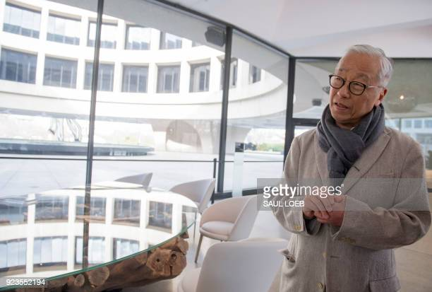 Japanese artist Hiroshi Sugimoto speaks about his redesign of the Smithsonian's Hirshhorn Museum lobby and cafe at the Museum in Washington DC...