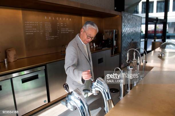 Japanese artist Hiroshi Sugimoto tours his redesign of the Smithsonian's Hirshhorn Museum lobby and cafe at the Museum in Washington DC February 12...