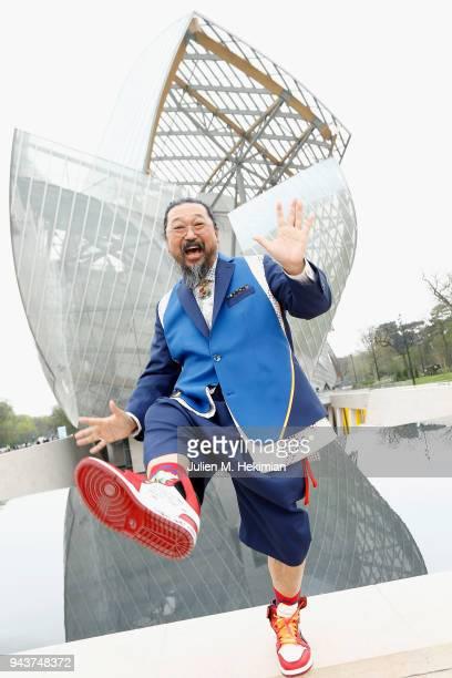 Japanese Artist Takashi Murakami attends 'Au Diapason Du Monde' Exhibition at Fondation Louis Vuitton on April 9 2018 in Paris France