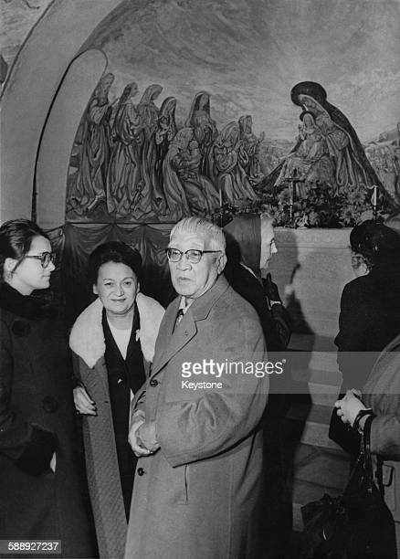 Japanese artist Tsuguharu Foujita at the opening of the Foujita Chapel the chapel of Our Lady of Peace in Rheims France 18th October 1966 Foujita...