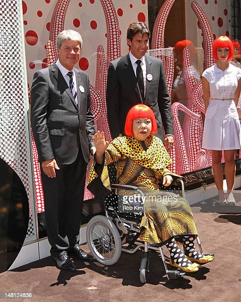 Japanese artist Yayoi Kusama with Louis Vuitton Chairman and CEO Yves Carcelle and incoming CEO Jordi Constans attend the Louis Vuitton and Yayoi...