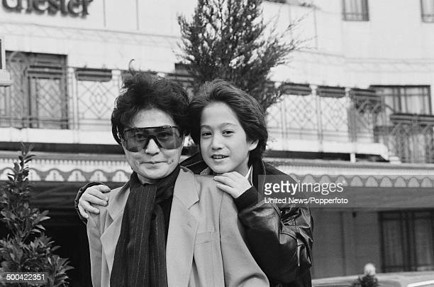 Japanese artist Yoko Ono posed with her and John Lennon's son Sean Lennon outside the Dorchester Hotel in London on 21st March 1986.