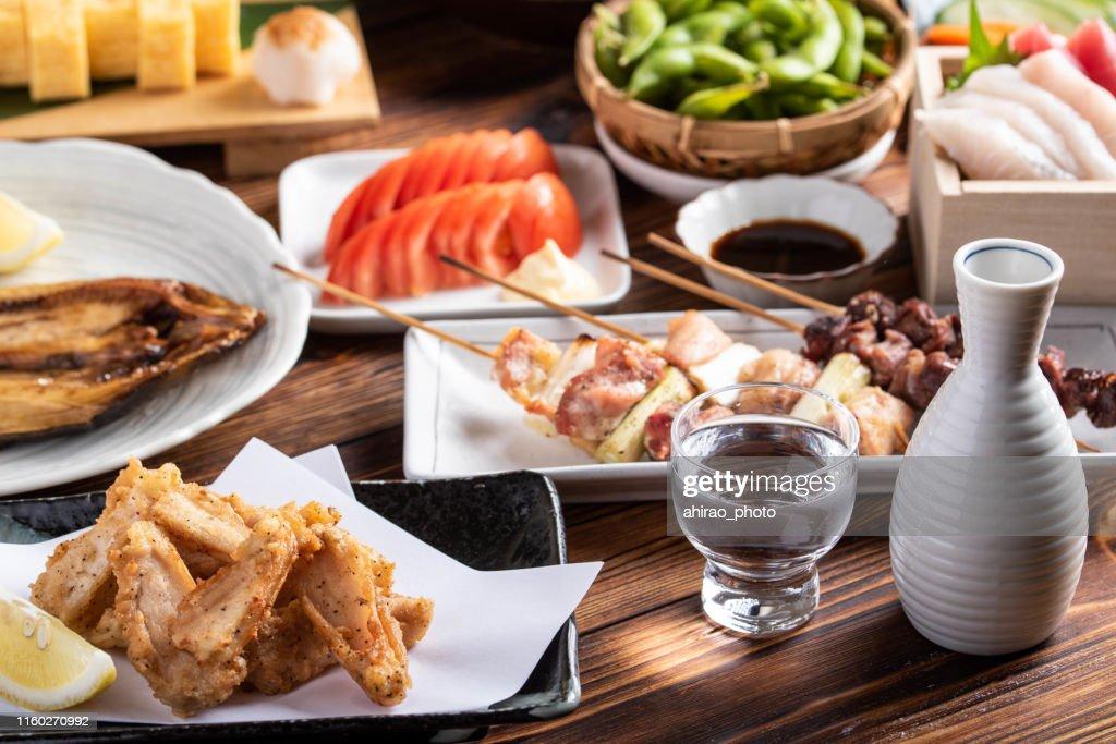 japanese assorted popular izakaya appetizers : Stock Photo