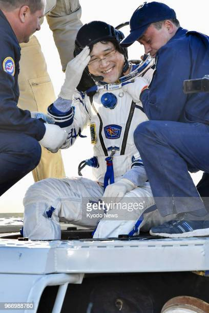 Japanese astronaut Norishige Kanai smiles after returning to Earth in a Soyuz spacecraft on June 3 following a fiveandahalf month mission in the...
